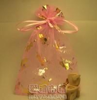 【愛禮布禮】婚禮小物:粉紅色串串心燙金雪紗袋12x17cm,1個2.6元,10個26元_圖片(1)
