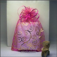 【愛禮布禮】婚禮小物:桃紅色勾藤蔓燙金雪紗袋12x17cm,1個2.6元,10個26元_圖片(1)