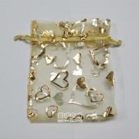【愛禮布禮】婚禮小物:淡金色桃心燙金雪紗袋12x17cm,1個2.6元,10個26元_圖片(1)