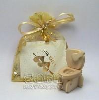 【愛禮布禮】婚禮小物:淡金色串串心燙金雪紗袋7x9cm,1個1.5元,10個15元_圖片(1)