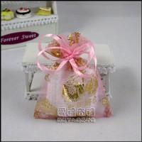 【愛禮布禮】婚禮小物:粉紅色新郎新娘燙金雪紗袋7x9cm,1個1.5元,10個15元_圖片(1)