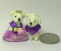【愛禮布禮】婚禮小物:3.5公分水鑽情侶紗裙熊紫色1對18元_圖片(1)