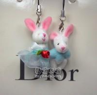 【愛禮布禮】婚禮小物:3.5公分情侶紗裙兔(1對)水藍--婚禮小物(1對)16元_圖片(1)