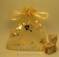 【愛禮布禮】婚禮小物:淡金色串串心燙金雪紗袋10x12cm,1個1.9元,10個19元_圖片(1)