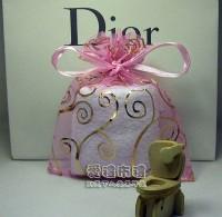 【愛禮布禮】婚禮小物:粉紅色勾藤花燙金雪紗袋10x12cm,1個1.9元,10個19元_圖片(1)
