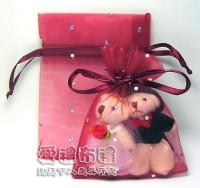 【愛禮布禮】婚禮小物:酒紅色鑽點紗袋8x10cm,1個1.7元,10個17元_圖片(1)