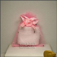 【愛禮布禮】婚禮小物:粉紅色鑽點緞帶花雪紗袋7x9cm @1個2.6元,10個26元_圖片(1)