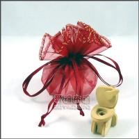 【愛禮布禮】婚禮小物:酒紅色素色圓形紗袋 D23cm,1個1.7元,10個17元_圖片(1)