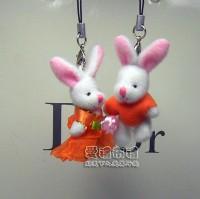 【愛禮布禮】婚禮小物:3.5公分情侶紗裙兔(1對)橘--婚禮小物(1對)16元_圖片(1)