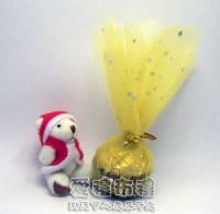 【愛禮布禮】婚禮小物:花瓣型淡金色鑽點圓形紗袋 @24cm @1包20個 @1個 0.85元附金色魔帶_圖片(1)