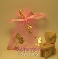 【愛禮布禮】婚禮小物:粉紅色串串心燙金雪紗袋7x9cm,1個1.5元,10個15元_圖片(1)