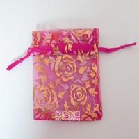 【愛禮布禮】婚禮小物:桃紅色玫瑰燙金雪紗袋9x12cm,1個1.7元,10個17元_圖片(1)