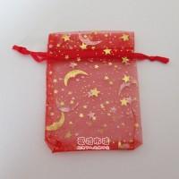 【愛禮布禮】婚禮小物:大紅色星月燙金雪紗袋9x12cm,1個1.7元,10個17元_圖片(1)