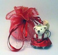 【愛禮布禮】婚禮小物:大紅色鑽點圓形紗袋 @23cm,1個1.8元,10個18元_圖片(1)