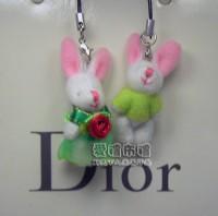 【愛禮布禮】婚禮小物: 3.5公分情侶紗裙兔(1對)綠--婚禮小物(1對)16元_圖片(1)