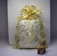 【愛禮布禮】婚禮小物:淡金色勾藤蔓燙金雪紗袋12x17cm,1個2.6元,10個26元_圖片(1)