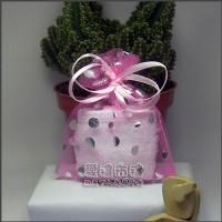 【愛禮布禮】婚禮小物:粉紅色圓片燙銀雪紗袋7x9cm,1個1.5元,10個15元_圖片(1)