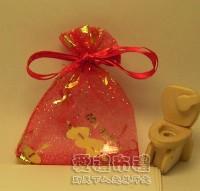 【愛禮布禮】婚禮小物:大紅色串串心燙金雪紗袋7x9cm,1個1.5元,10個15元_圖片(1)