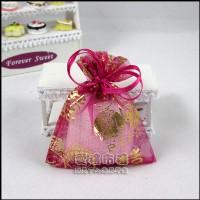 【愛禮布禮】婚禮小物:桃紅色新郎新娘燙金雪紗袋7x9cm,1個1.5元,10個15元_圖片(1)