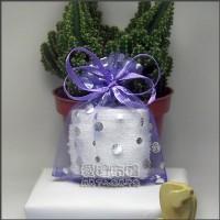【愛禮布禮】婚禮小物:淡紫色圓片燙銀雪紗袋7x9cm,1個1.5元,10個15元_圖片(1)