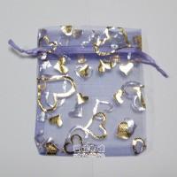 【愛禮布禮】婚禮小物:淡紫色桃心燙金雪紗袋7x9cm,1個1.5元,10個15元_圖片(1)