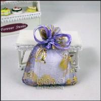 【愛禮布禮】婚禮小物:淡紫色新郎新娘燙金雪紗袋7x9cm1個1.5元,10個15元_圖片(1)
