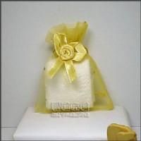 【愛禮布禮】婚禮小物:淡金色鑽點緞帶花雪紗袋7x9cm @1個2.6元,10個26元_圖片(1)