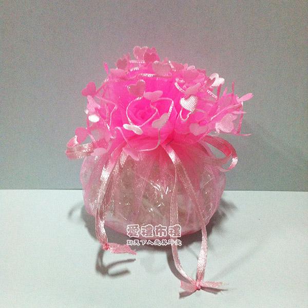 【爱礼布礼】婚礼小物:淡粉色爱心花边圆形纱袋 d23cm,1个5.
