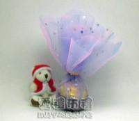 【愛禮布禮】婚禮小物:花瓣型淡紫色鑽點圓形紗袋 @24cm @1包20個 @1個 0.85元附金色魔帶_圖片(1)