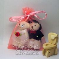 【愛禮布禮】婚禮小物:粉橘色鑽點紗袋8x10cm,1個1.7元,10個17元_圖片(1)
