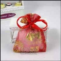 【愛禮布禮】婚禮小物:大紅色新郎新娘燙金雪紗袋10x12cm,1個1.9元,10個19元_圖片(1)