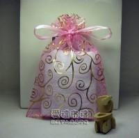 【愛禮布禮】婚禮小物:粉紅色勾藤蔓燙金雪紗袋12x17cm,1個2.6元,10個26元_圖片(1)