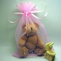 【愛禮布禮】婚禮小物:粉紅色鑽點紗袋12x17cm,1個2.6元,10個26元_圖片(1)