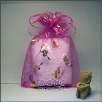 【愛禮布禮】婚禮小物:桃紅色串串心燙金雪紗袋12x17cm,1個2.6元,10個26元_圖片(1)