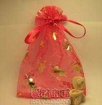 【愛禮布禮】婚禮小物:大紅色串串心燙金雪紗袋12x17cm,1個2.6元,10個26元_圖片(1)
