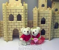 【愛禮布禮】婚禮小物:3.5公分水鑽情侶紗裙熊紅色1對/18元_圖片(1)