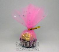 【愛禮布禮】婚禮小物:花瓣型粉紅色鑽點圓形紗袋 @24cm @1包20個 @1個 0.85元附金色魔帶_圖片(1)