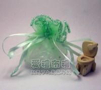 【愛禮布禮】婚禮小物:花瓣型粉綠色鑽點圓形紗袋 @24cm @1包20個 @1個 0.85元附金色魔帶_圖片(1)