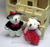 【愛禮布禮】婚禮小物:5公分婚禮紅色禮服熊(1對)23元_圖片(1)