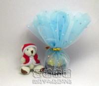 【愛禮布禮】婚禮小物:花瓣型水藍色鑽點圓形紗袋 @24cm @1包20個 @1個 0.85元附金色魔帶_圖片(1)