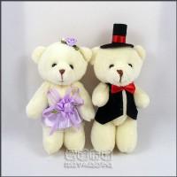 【愛禮布禮】婚禮小物: 12公分情侶熊(新娘紫色禮服)1對/41元_圖片(1)