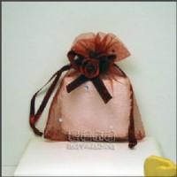 【愛禮布禮】婚禮小物:酒紅色鑽點緞帶花雪紗袋7x9cm @1個2.6元,10個26元_圖片(1)