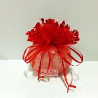 【愛禮布禮】婚禮小物:訂購單位1為10個.鑽點大紅色愛心花邊圓形紗袋 D26cm,1個6.3元,10個63元_圖片(1)