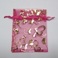 【愛禮布禮】婚禮小物:桃紅色桃心燙金雪紗袋7x9cm,1個1.4元起10個 一般價 18 元 會員價 18 元_圖片(1)