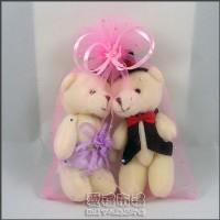 【愛禮布禮】婚禮小物:12公分情侶熊(新娘紫色禮服)1對 41元_圖片(1)