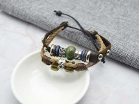 復古民俗多件式編織皮革手環/鍊 韓國當季流行飾品 小額批發_圖片(2)