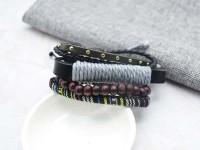 復古民俗多件式編織皮革手環/鍊 韓國當季流行飾品 小額批發_圖片(3)