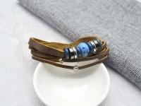 復古民俗多件式編織皮革手環/鍊 韓國當季流行飾品 小額批發_圖片(4)