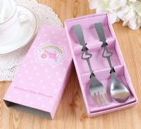 【愛禮布禮】婚禮小物: 不銹鋼叉勺餐具禮盒-粉色圓點 一般價 16 元 會員價 16 元_圖片(1)