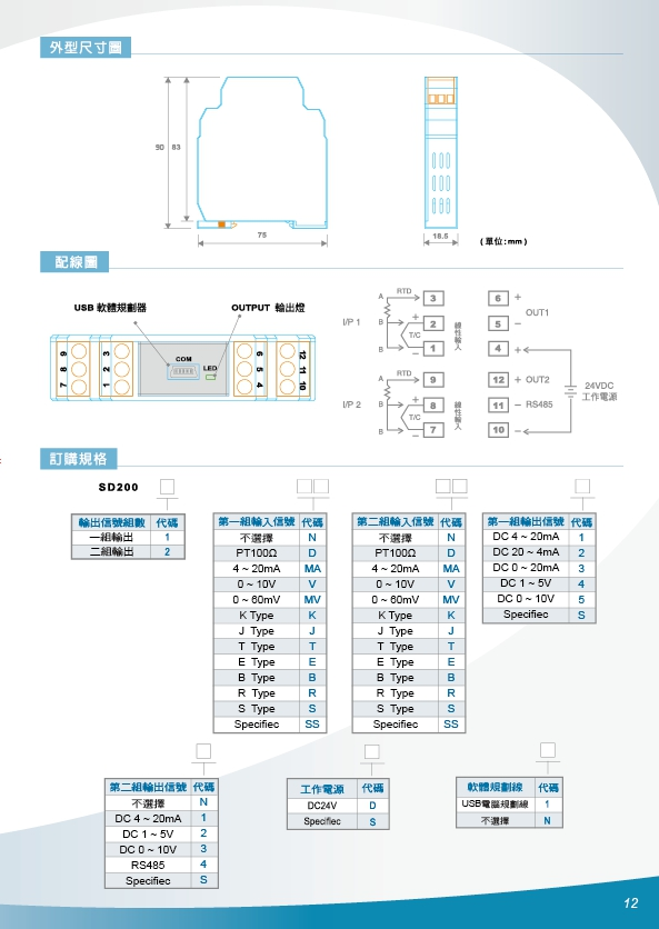 雙迴路信號轉換器,數位RS485微電腦傳送器,數位熱電偶溫度轉換器,直流雙組輸出熱電偶溫度轉換器,可規劃測温電阻溫度轉換器,PT100歐姆溫度傳訊器,類比兩線式傳訊器,微電腦4~20ma傳送器 - 20171021205143-590505572.jpg(圖)
